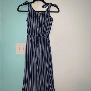 navy blue and white striped jumpsuit